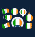 ireland flag collection big set national flag vector image