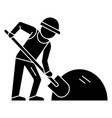 man builder working with shovel icon vector image