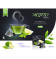 mojito tea collection composition vector image vector image