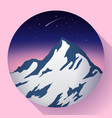 mountain peak at night and comet icon vector image vector image