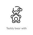 outline teddy bear with sleep hat icon isolated