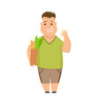 overweight boy cute chubchild cartoon vector image vector image