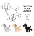 pissing dog icon in cartoon style for web vector image