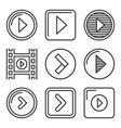 play button icons set on white background line vector image vector image