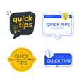 quick tips colorful banner with speech bubble vector image vector image