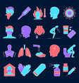 respiratory disease icon set in line style vector image