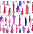 Seamless pattern with women in evening dresses vector image