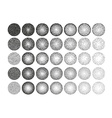 Set of 35 round stipple pattern for design Tile vector image