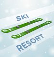 Ski resort skiing in motion vector image vector image
