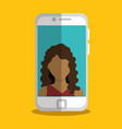 smartphone with woman character vector image vector image