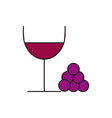 stylish wine glass thin line icon vector image