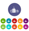 submarine transportation icons set color vector image vector image