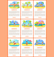 summer fun posters with kids on vacation sea vector image vector image