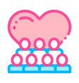 volunteers support love thin line icon vector image vector image