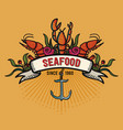 seafood in cartoon style restaurant logo with vector image