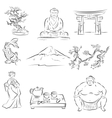 Symbols of Japanese culture vector image
