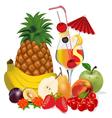 cocktail and fruits banana apple peach cherry plum vector image