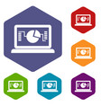 laptop with business graph icons set vector image