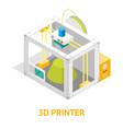 3d printer flat design style isometric view