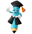 a pencil cartoon wearing a graduation cap with giv vector image