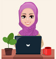 arabic business woman working on a laptop vector image