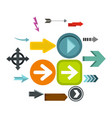 arrow icons set flat style vector image