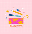 back to school pencil bag and stationery vector image