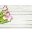 Beautiful pink tulips on wooden background EPS 10 vector image vector image