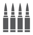 bullets glyph icon ammunition and army caliber vector image vector image