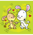 bunnies in love vector image vector image
