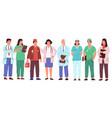 cartoon doctors medical workers in uniforms vector image