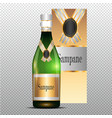 champagne with gold curly ribbon on transparent vector image vector image