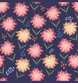 childish pattern with orange and pink flowers vector image vector image
