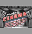 cinema - retro neon monochrome alphabet vector image vector image
