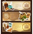 Coffee Vintage Flat Banners Set Brown vector image vector image
