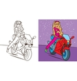 Colouring Book Of Girl Ride Bike vector image vector image