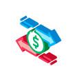 currency dollar exchange isometric icon vector image vector image