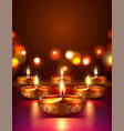 diwali festival poster with diya candles vector image