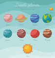 doodle planets collection vector image