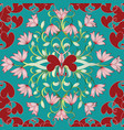 floral seamless pattern light turquoise flourish vector image