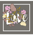 Flowers typography poster design text and florals vector image vector image