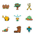 ground work icons set cartoon style vector image vector image