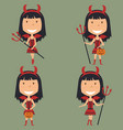 halloween red devil girl vector image