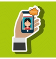 hand hold smartphone icon vector image