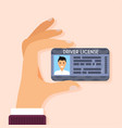 hand holding driver license with male photo flat vector image