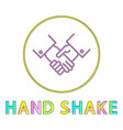 hand shaking color line art icon in round frame vector image vector image