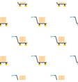hand truck with cardboard box pattern flat vector image vector image