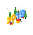 happy new year - modern colorful isometric vector image vector image