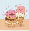 ice cream with donuts kawaii characters vector image