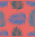 living coral tropical palm leaves seamless vector image vector image